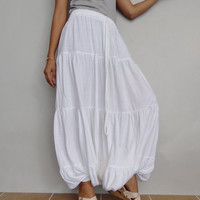 Women Ruffle Long Pant, Casual Gypsy,Yoga, Bohemian ,White Cotton Blend(Pant-R4).