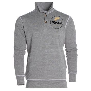 Official NCAA Purdue University Boilermakers Purdue Pete	Women's Boyfriend Fit Triblend 1/4 Button Pullover Full Sleeve O-Neck Durable Premium Sweatshirt