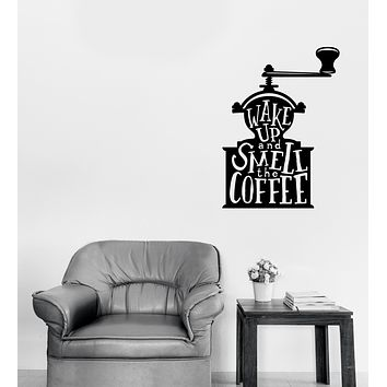 Large Wall Vinyl Decal Words on Coffee Grinder Quotes About Coffee Home Decor (n1127)