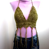 Sexy Crochet Bra Handmade Sandy and Soldier Wood Bead Crop Top Yoga Tank Hippie Bohemian Summer Bikini Crochet Festival Top Party Corset
