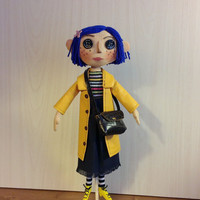 coralline movie doll button eyes doll textile yellow raincoat coraline art doll blue hair coraline toys tim burton cloth doll