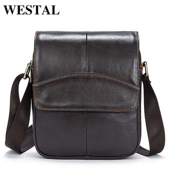 WESTAL Casual Messenger Bag Leather Men Shoulder Crossbody Bags for Man Genuine Leather Men Bag Small Flap Male Bags Bolsa New