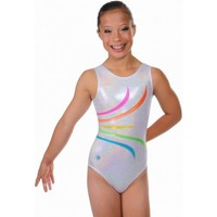 Gymnastics Leotards by Snowflake Designs Fanfare Workout Leotard Silver
