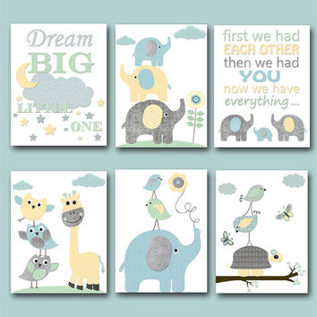 Elephant Nursery Quotes Baby Shower Gift Kids Wall Art Kids Art Baby Boy Nursery Art Baby Room Decor set of 6 11x14 Gray Blue Yellow Mint