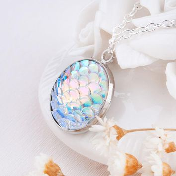 Mermaid Druzy Minimal Pendant Necklace