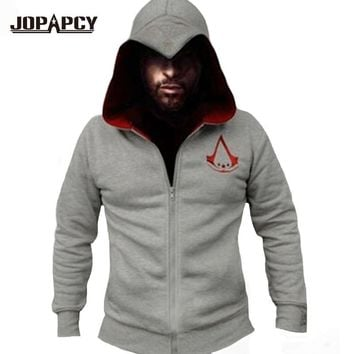 2017 Spring New Fashion Assassins Creed Hoodies Men Zipper Hip Hop Hooded Sweatshirt Casual Costumes Cosplay XS-XXL MXE0148