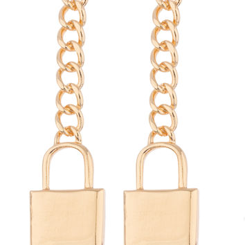 Goldtone 3.5 Inch Lock with Link Earrings