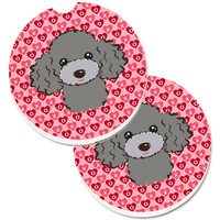 Silver Gray Poodle Hearts Set of 2 Cup Holder Car Coasters BB5329CARC