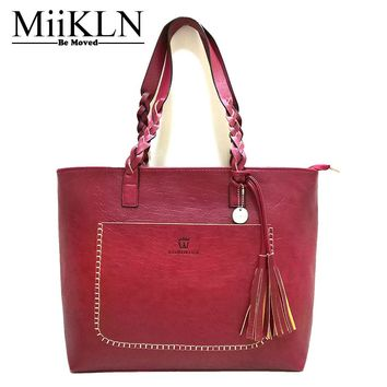 MiiKLN PU Soft Leather Women Shoulder Bag Red Black Coffee Brown Solid Tassel Casual Tote Women Handbags Ladies Bolsos Mujer