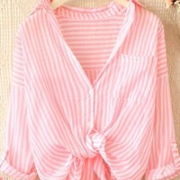 Loose vertical stripes lapel long sleeve shirts from Fanewant