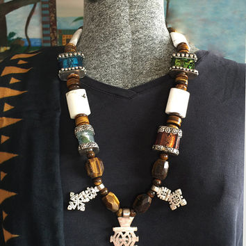 Ethiopian Coptic Cross and Tiger's Eye Tribal Necklace