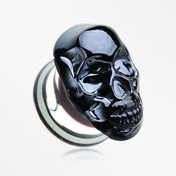 A Pair of Gunmetal Death Skull Glass Double Flared Plug