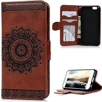 "IKASEFU Retro Elegant Unique Strap/Rope Pressed Flower Pu Leather Magnetic Closure Flip Wallet Case Cover with Stand for iPhone 6/6S 4.7""-Flower,Brown"