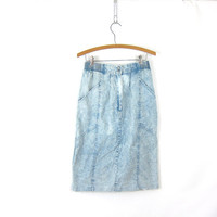 Acid Wash Denim Jean Skirt Midi Length Denim Pencil Skirt Faded Blue Stone Wash 80s High Waist Skirt Bleached Knee Skirt Women's Size 8