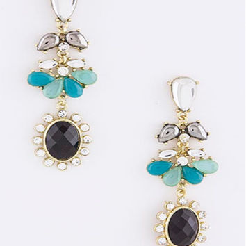 Mixed Stone Post Drop Earrings