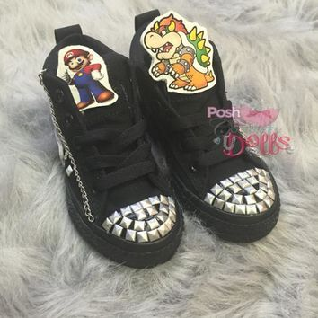 Super Mario Brothers Inspired Custom Couture Spiked Converse