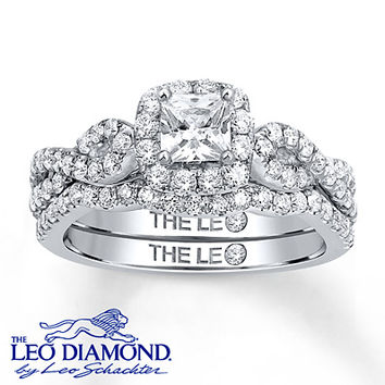 Leo Diamond Bridal Set 1 1/8 carats tw 14K White Gold