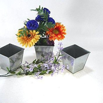 3 pcset Square Galvanized Pot Bucket 4quot tall x 4quot wide