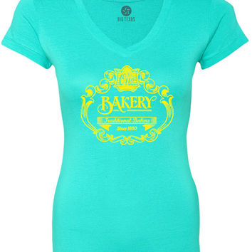 Vintage Bakery Sign (Yellow) Women's Short-Sleeve V-Neck T-Shirt