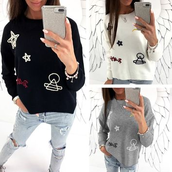 Tops Winter Long Sleeve Embroidery Pattern Hoodies [11921200975]
