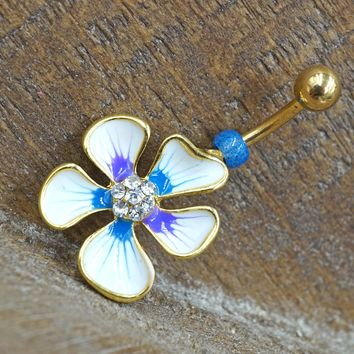 Hibiscus Flower Gold Belly Button Ring