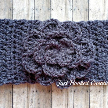 Crochet Gray Ear Warmer, Gray Earwarmer, Gray Headband, Gray Crochet Headband, Handmade Headband, Handmade Earwarmer, Handmade Ear Warmers