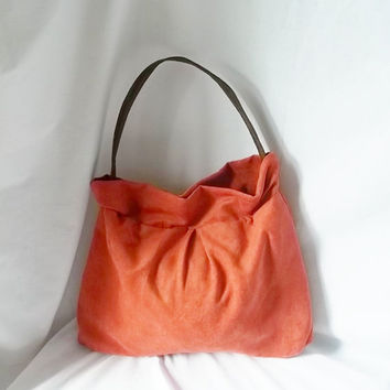 Orange Ultra Suede Hobo handbag  Animal Friendly Suede by ACAmour