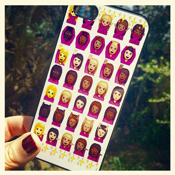 Iphone 6 6 Plus Phone Case Emoji Icons Girl Print Hipster Phone Cover