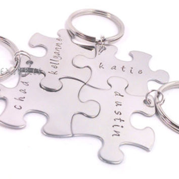 Set of 4 Keychains for Family Puzzle PIeces Names
