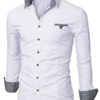 Doublju Mens Dress Shirt with Contrast Neck Band WHITE (US-M)