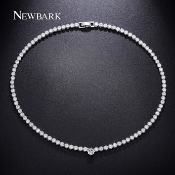 NEWBARK Charming Choker Necklace Fashion Brand Paved Cubic Zirconia Crystal Silver Color For Women Wedding Party Bijoux Jewelry