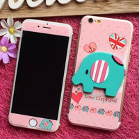 Cute 3D Elephant iPhone 6s 6plus Toughened Glass Screen Protector