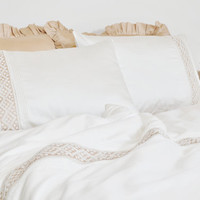Ivory Lace Ribbed Duvet Cover Set in Full Queen King Size - Ivory, Cream, Beige Pure Cotton Sateen - Romantic, Elegant, Shabby Chic Bedding