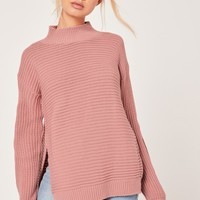 Missguided - Funnel Neck Rib Stitch Jumper Pink