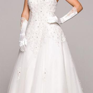 Ivory Embroidered Ball Gown Wedding Dress Sweetheart Neck Strapless