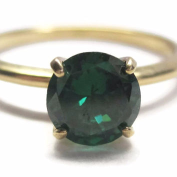 Vintage 14K Green Diopside Engagement Ring Size 6