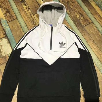 adidas Originals Unisex Black/White Three Stripe Half Zip Hooded Sweater- Winter