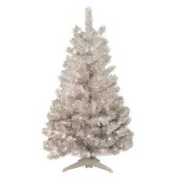 4ft Pre-Lit Artificial Christmas Tree Silver Tinsel - Clear Lights