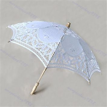 Japanese Chinese Umbrella Art Deco Painted 25cm Lace Parasol Umbrella Embroider For Wedding Decorate