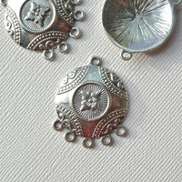 10 piece Tibetan Style Flat Round Chandelier dream catcher Components, Antique Silver Jewelry Earrings Necklace making findings DIY
