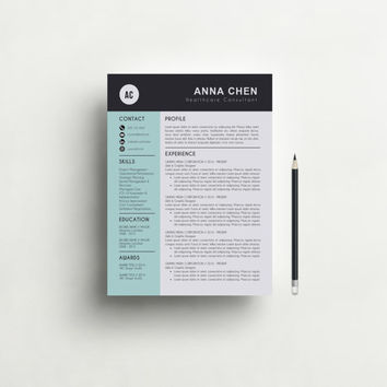 Resume Template - Professional, Creative and Modern Resume Design with Cover Letter, Word Template, CV, Teacher, CV Template - Mac or Pc