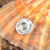 Personalized Name Necklace - Mom Necklace - Beach Jewelry - Bridesmaid Jewelry - Sand Dollar Necklace - Family Necklace - Couples Necklace