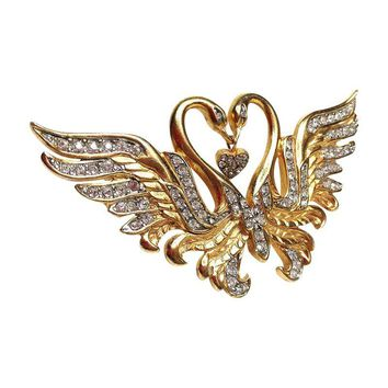 Pre-owned Nolan Miller Double-Swan Brooch