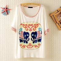 Little Flowers Sleeves &Neck Elephant Loose T-shirts