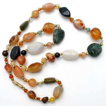 "Multi Gemstone Bead Necklace 25"" Vintage"