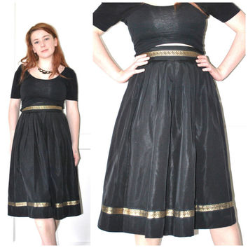 1950s circle PARTY skirt / vintage 50s high waisted GRECIAN tea length black and gold full skirt small
