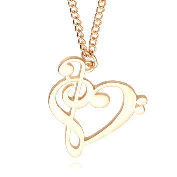 Heart Musical Note Necklace