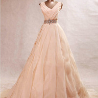Luxury V-neck Aline skin pink wide strap sweep train chiffon evening dress formal gown 2014