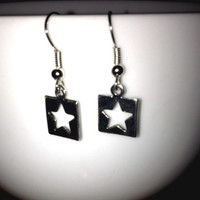 SALE: Silver Square Star Charm Earrings