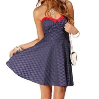 Pre-Order: Navy/Red/White Polka Dot Dress